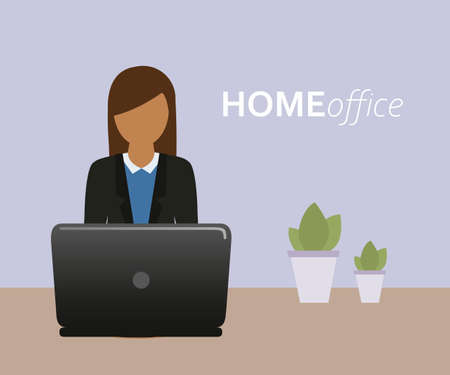 business woman on the laptop in home office