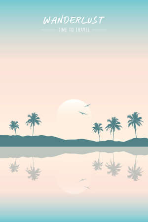 wanderlust paradise tropical beach summer holiday background Ilustrace