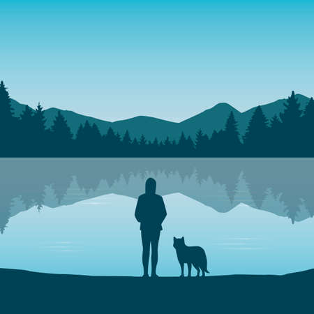 wanderlust girl and dog by the lake in green nature Ilustrace