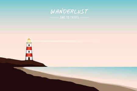 red lighthouse near beach at night wanderlust