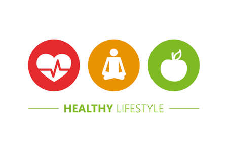 healthy lifestyle icons heart yoga and apple