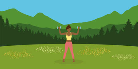 sporty girl does outdoor sport with dumbbells on a summer meadow Ilustrace