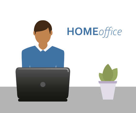 business man on the laptop in home office Ilustrace