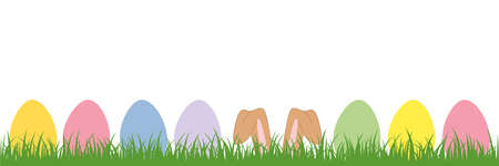 hare ears in the meadow between colorful Easter eggs Ilustrace
