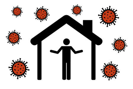man with questions in quarantine virus info graphic