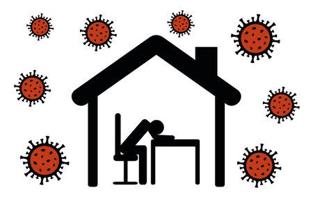 person with depression in quarantine virus info graphic Vektorgrafik