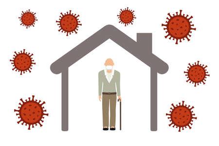 lonely old man in quarantine virus info graphic