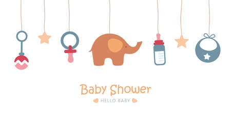 baby welcome greeting card for childbirth with hanging utensils Illusztráció