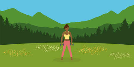sporty girl does outdoor sport with dumbbells on a summer meadow Illusztráció