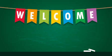 welcome party flag banner on school black board background