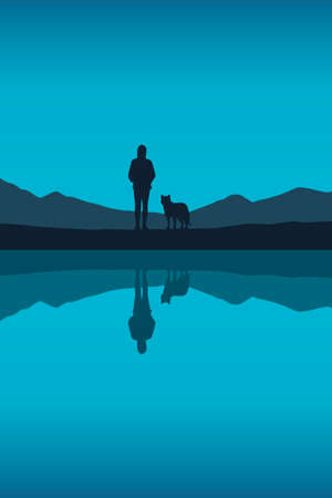 girl and dog by the lake in nature vector
