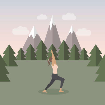 girl makes yoga on green mountain landscape