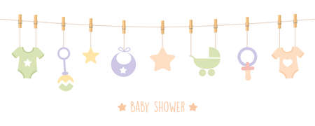 baby shower welcome greeting card for childbirth with hanging utensils