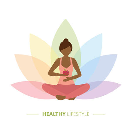 healthy yoga girl with apple on colorful lotus flower background Illusztráció