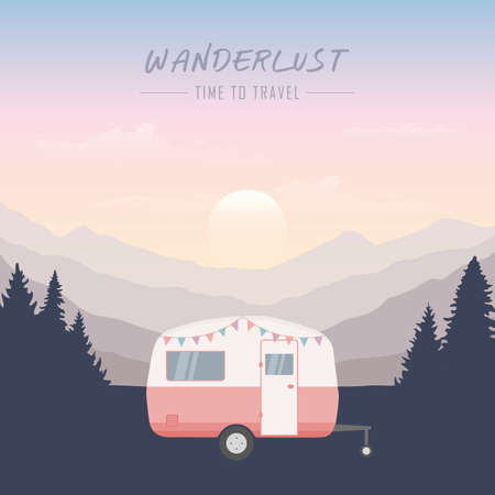 wanderlust camping adventure in the wilderness camper in forest and mountain landscape
