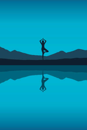 girl makes yoga by the lake on blue night landscape Illusztráció