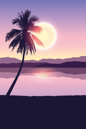 tropical landscape at night holiday banner with palm trees and full moon