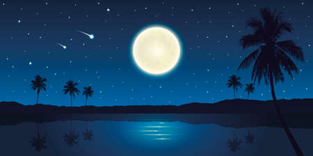 beautiful night on tropical landscape with full moon and falling stars
