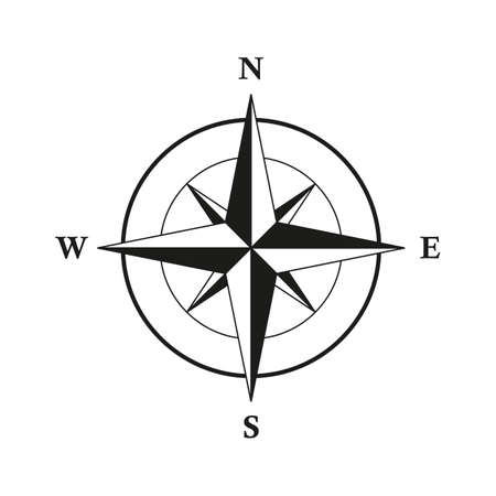 basic compass wind rose isolated on white background