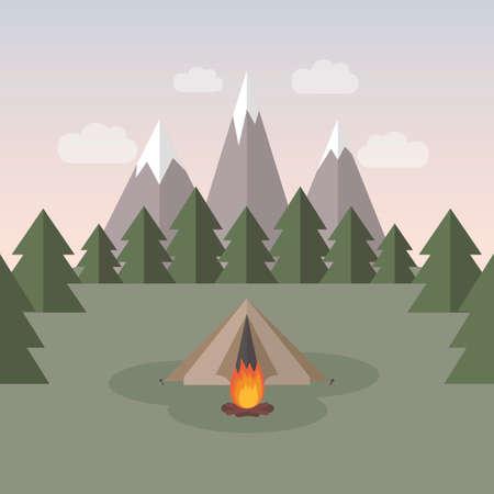 wanderlust camping adventure in the wilderness tent in snowy mountain Ilustração