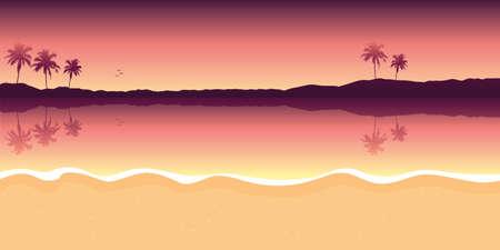 purple paradise palm beach landscape summer background