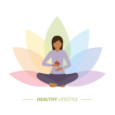 healthy yoga girl with apple on colorful lotus flower background Ilustração
