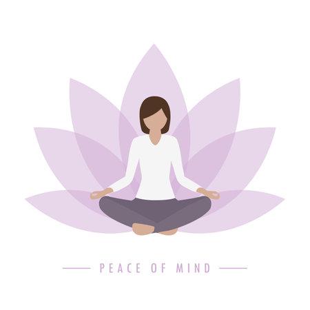yoga girl lotus flower background peace of mind Ilustração