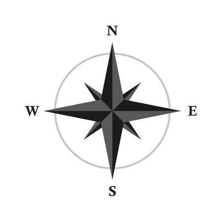 basic compass wind rose isolated on white background
