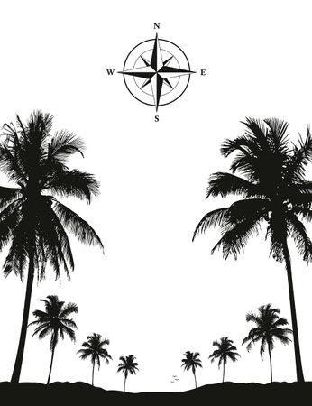 luxury holiday palm tree silhouette background black and white Ilustração