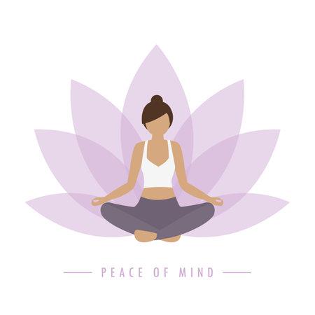 yoga girl on colorful lotus flower background peace of mind Ilustração