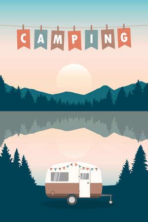 camper summer holiday on a road trip Ilustração