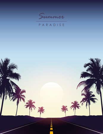summer paradise road trip beautiful sunset tropical palm Ilustração