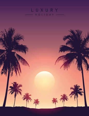 beautiful sunset on tropical palm tree silhouette background