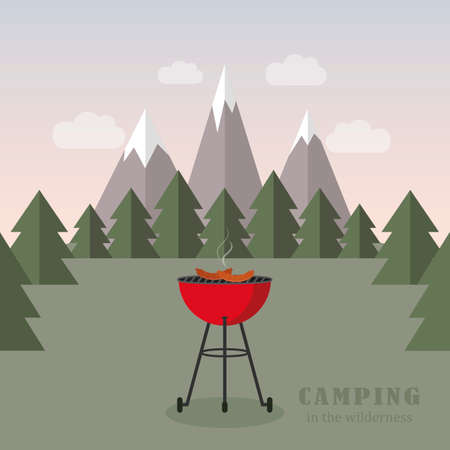 camping adventure in the wilderness with kettle grill bbq Ilustração