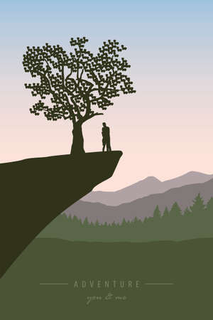 couple in love on a cliff under a tree with mountain view