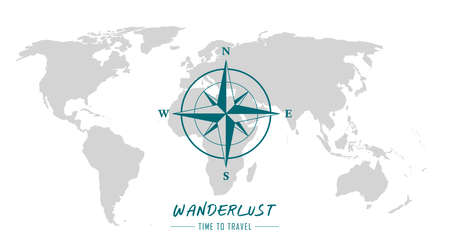 world map with compass wind rose wanderlust travel