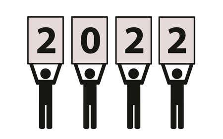 year 2022 team pictogram on a white background Ilustração