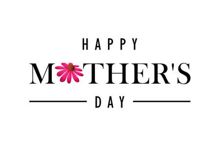 happy Mothers Day greeting banner with pink flower