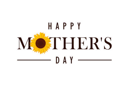 happy Mothers Day greeting banner with sunflower