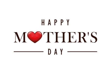 happy Mothers Day greeting banner with red heart