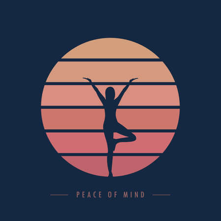 peace of mind yoga meditaion person at sunset graphic