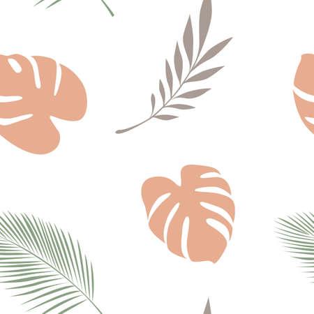 seamless pattern palm leaf on white background Ilustração