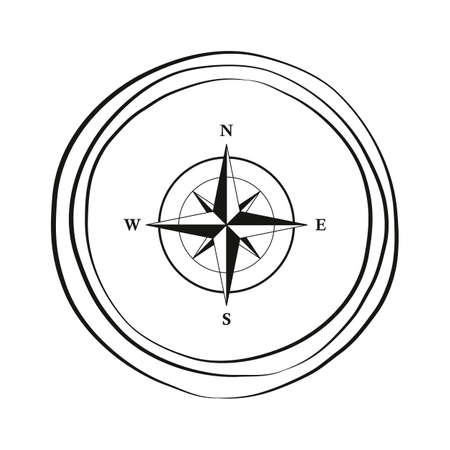 compass wind rose travel graphic on white background Ilustração