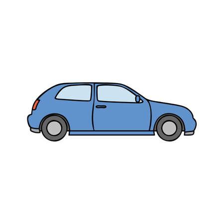 blue car simple illustration on white background Illustration