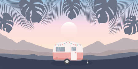 camper on summer holiday palm background in the mountains