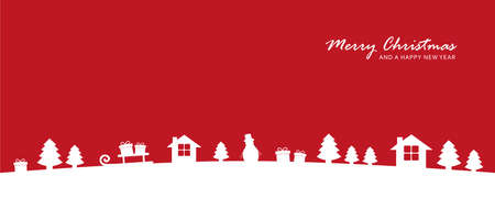 red christmas valley winter banner with fir house and gift Vettoriali