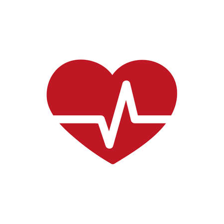 simple heart beat icon isolated on white