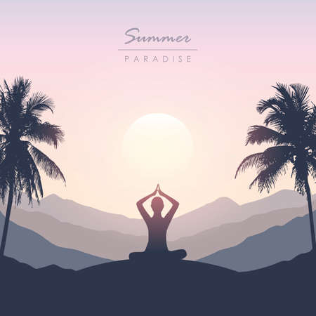 peace of mind meditation concept silhouette with mountain palm background