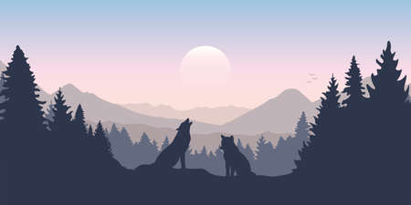 wolf pack in forest with mountain landscape Vettoriali