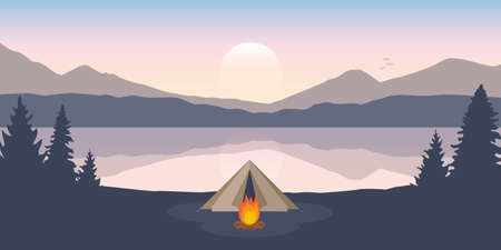 wanderlust camping adventure tent on mountain forest landscape by the lake
